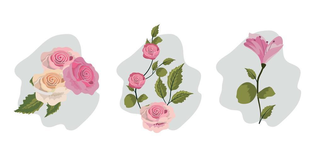 Set vintage bloemen