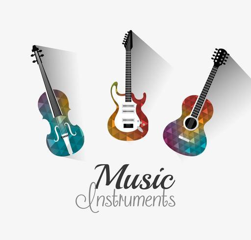 Music instruments digital design. vector