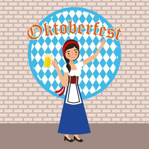 Oktoberfest Zeichen mit Frau Holding Stein vektor