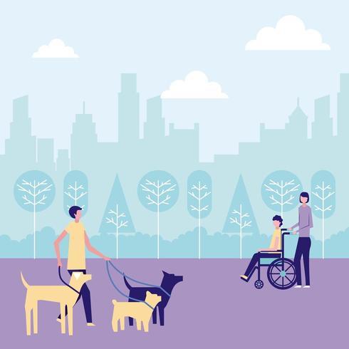 Passeador de cães voluntário e pessoa ajudando pessoa em cadeira de rodas