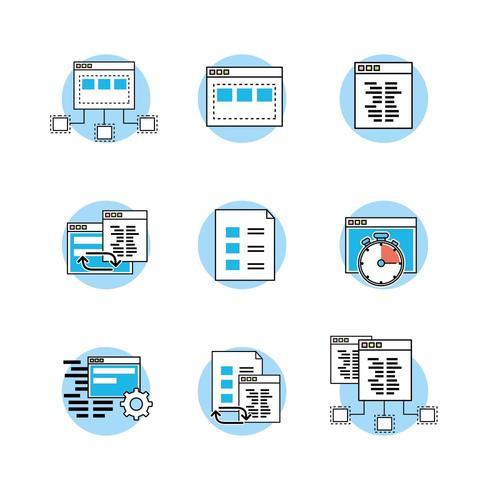 set van website, code, programmeur technologie iconen vector
