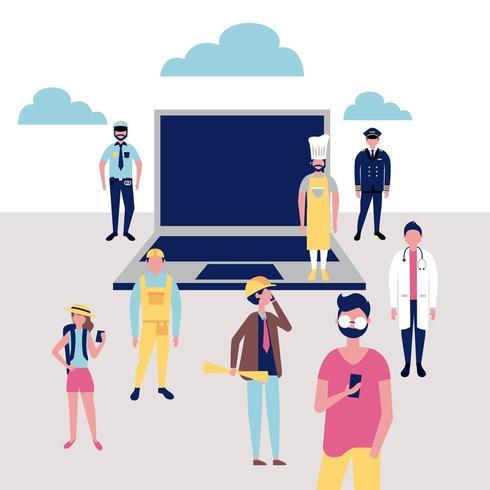 Collage di professioni con il computer portatile