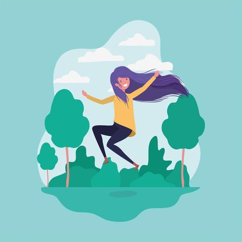 girl jumping in the park vector