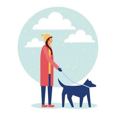 Neve da passeggio cane donna
