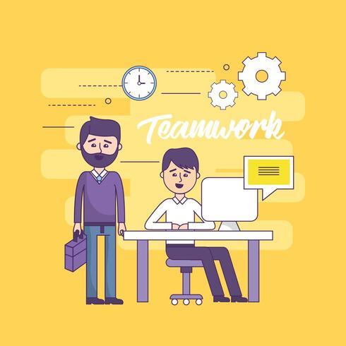 empresarios de trabajo en equipo con información de computadora y documentos vector