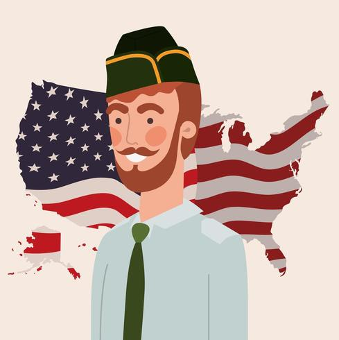 Hombre militar con mapa de Estados Unidos y bandera vector