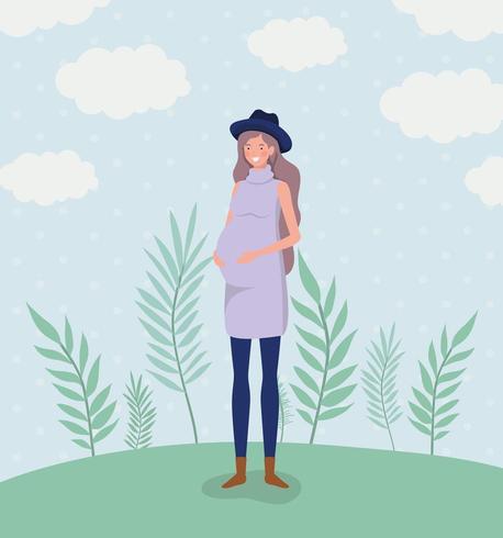 cute woman pregnancy in the landscape vector