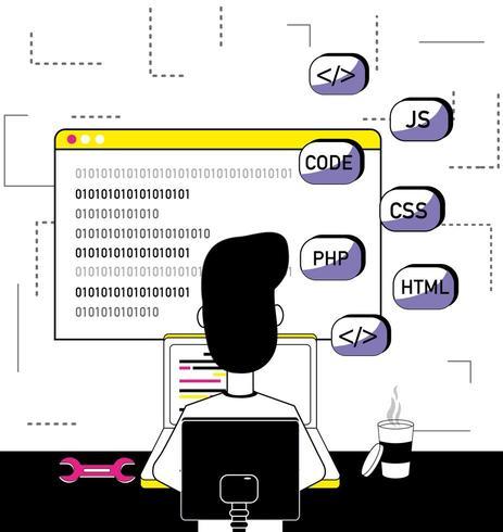 Programvara programmerare tecknad vektor