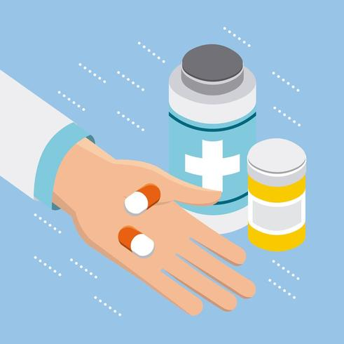 Medical doctor and pill bottle  vector