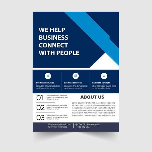 Modello di volantino aziendale blu