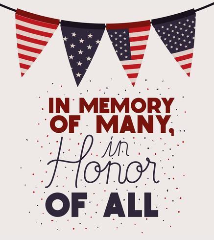 Guirnaldas con la bandera de Estados Unidos de celebración del día conmemorativo vector