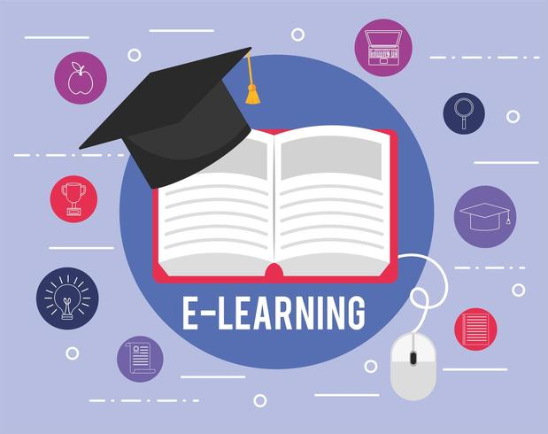 elearning education book with graduation cap and icons vector
