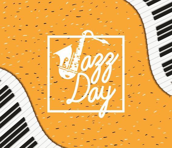 cartaz do dia de jazz com teclado de piano e saxofone