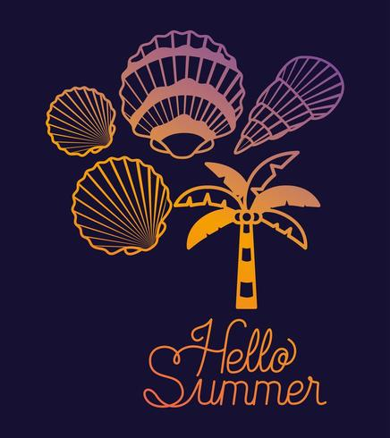 Neon Hello Summer Design con conchas vector