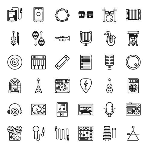 music icon set Outline vector