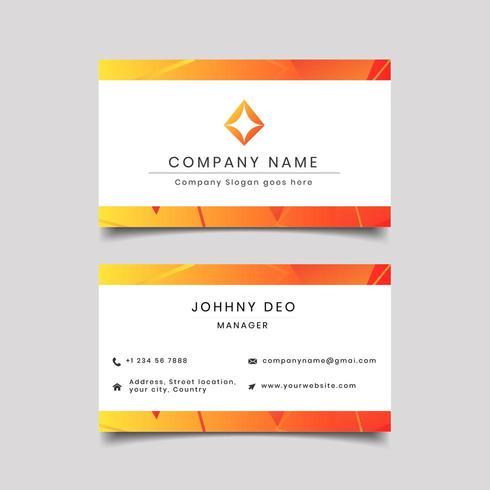 Modelo de cartão de visita - laranja limpo vetor