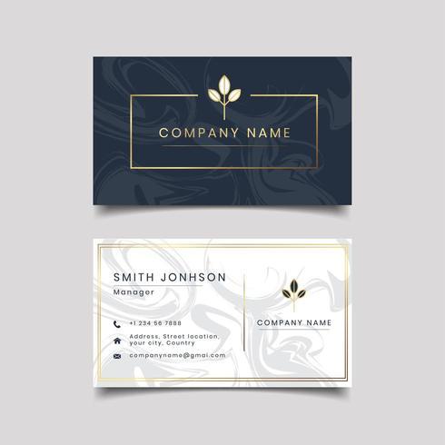 dark marble textured business card  vector
