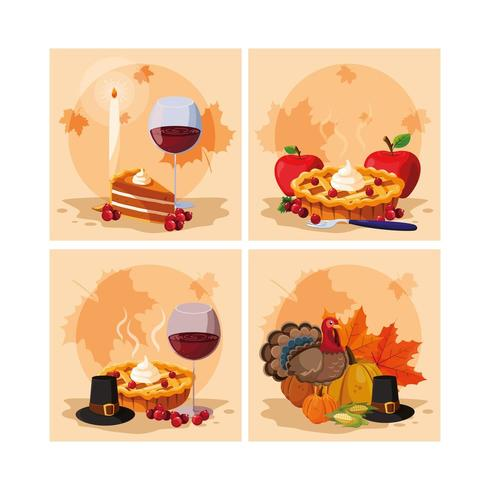 turkey of happy thanksgiving day vector