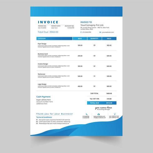 Blue Wave Minimal business invoice template vector design
