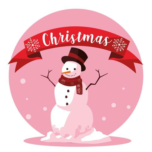 snowman of christmas with ribbon