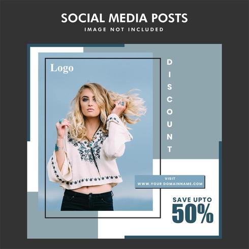 Fashion sale minimal social media post design vector