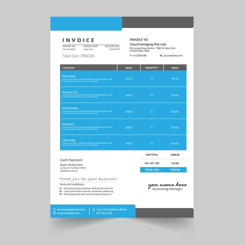 Minimal business invoice template