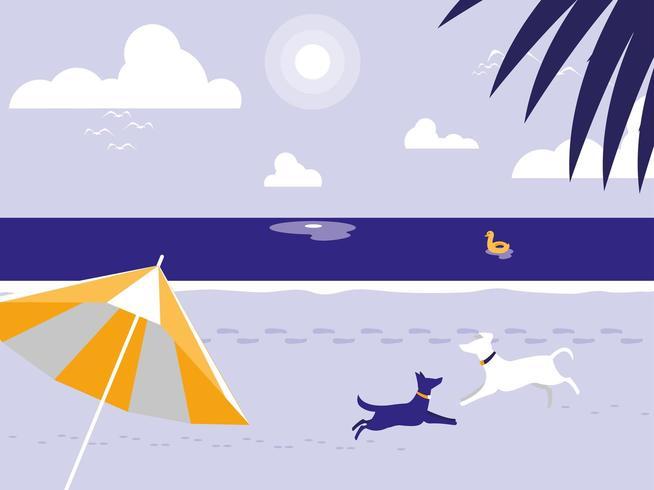 Playa tropical con perros mascota y sombrilla