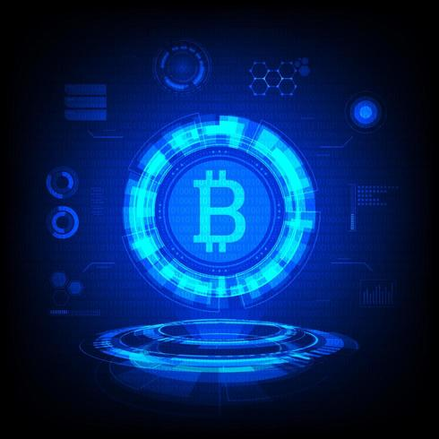 Símbolo de Bitcoin Holograma vector