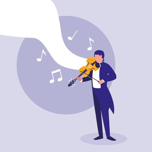 elegant man playing fiddle classical vector