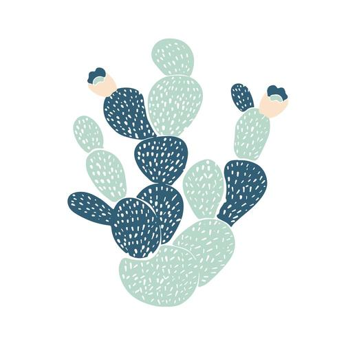 Hand drawn decorative  cacti. in Scandinavian style vector