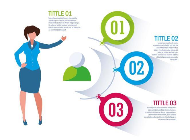 Empresaria con infografía y números vector