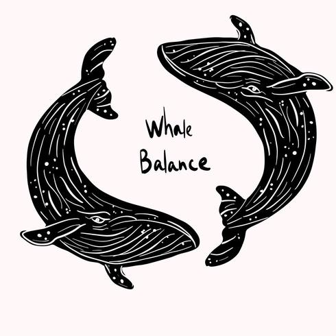 Black whale sea life balance  vector