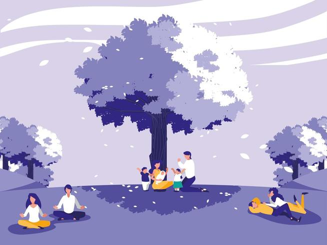 paisaje creativo con árboles y personas