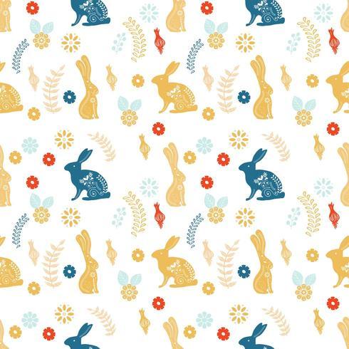 Patrón de arte popular escandinavo con conejitos y flores. vector