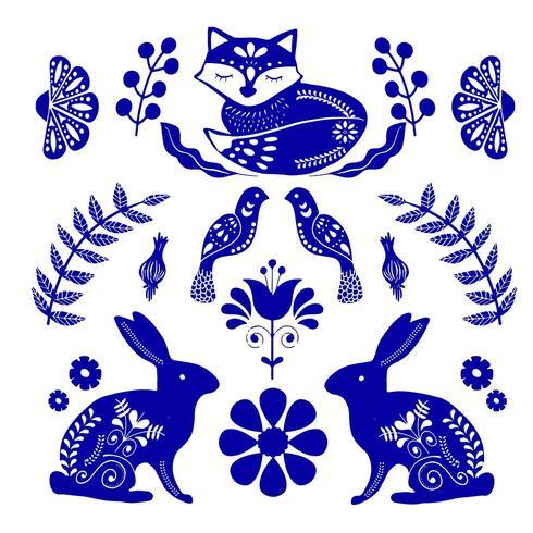 Modello di arte popolare scandinava con coniglietti, volpe e fiori