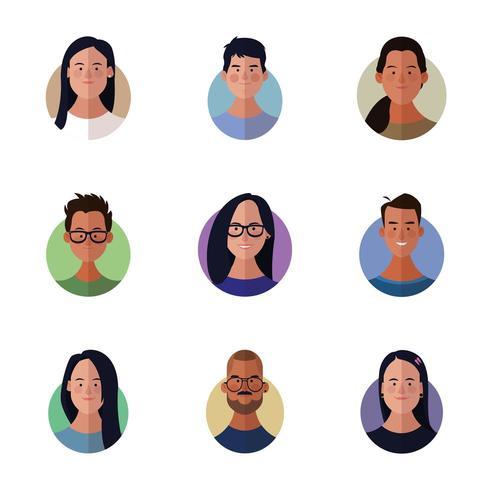 Desenhos animados de rostos de diversos povos vetor