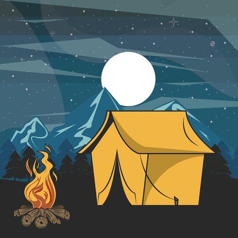 Het kamperen scène bij nacht met tent vector