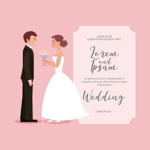 hermosa novia con tarjeta de boda de ramo y novio vector