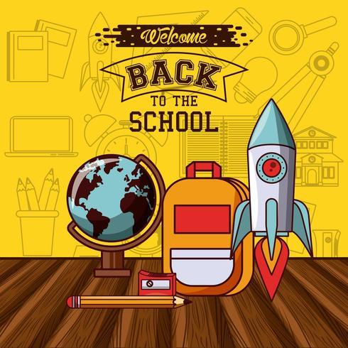 Mensaje de regreso a la escuela con cohete y globo