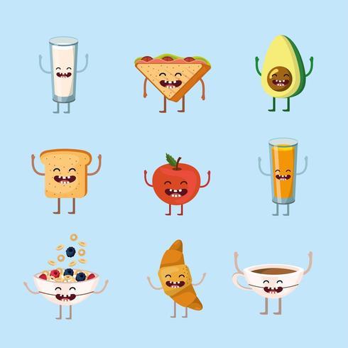 Establecer feliz y deliciosa comida de desayuno con brazos y piernas vector