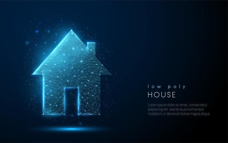 Abstract landhuis met één verhaal. Laag poly-stijl ontwerp.