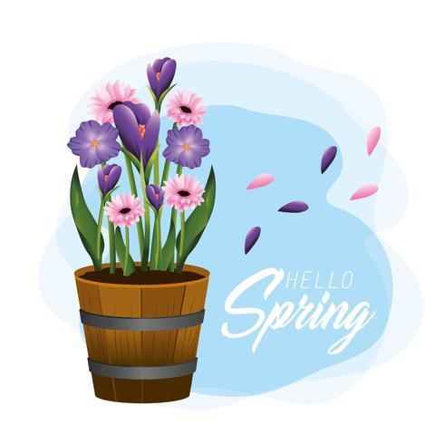 fiori esotici con foglie in vaso di legno in primavera