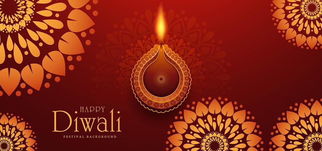 Elegante card design del tradizionale festival indiano Diwali