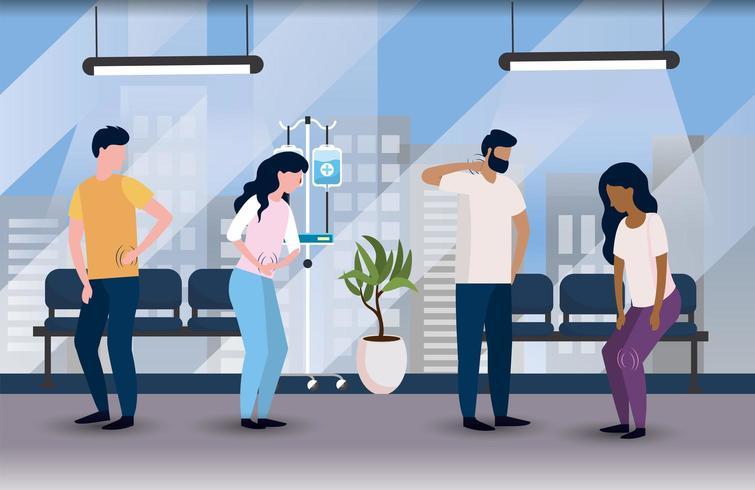 sjuka patienter på det medicinska sjukhuset med stolar vektor