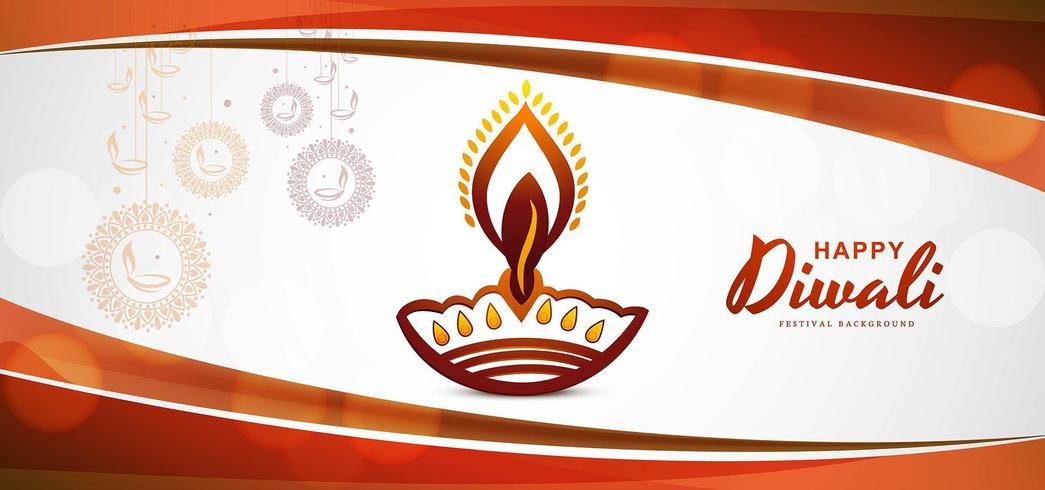 Felice diwali festival sfondo con disegno dell'onda