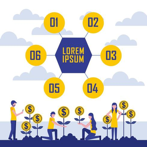 growth coins profit infographic
