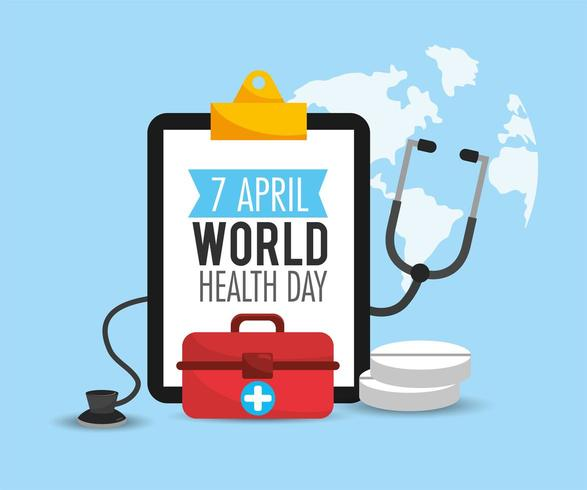 first aid and stethoscope to health day