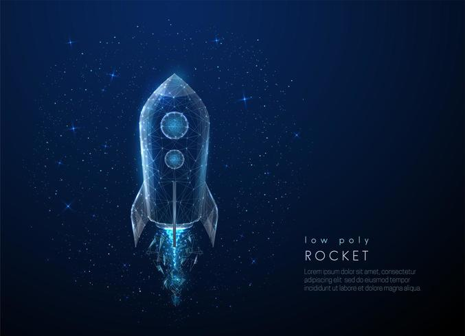 Abstact rocket flying in the space. Low poly style design vector