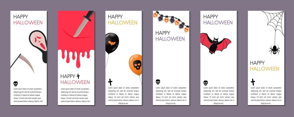 Insieme delle bandiere verticali di Halloween con i simboli di Halloween su priorità bassa bianca.