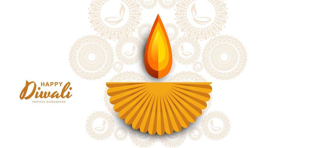 Lindo papel cortado diwali diya brilhante fundo vetor